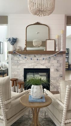 Cottage Living Rooms, Living Room Interior, Home Living Room, Home Interior Design, Living Room Decor, Home Bedroom, Bedroom Decor, White Fireplace, Fireplace Mantle