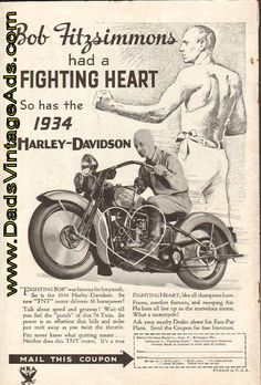 "1934 Harley-Davidson Ad with ""Fighting Bob"" Fitzsimmons"