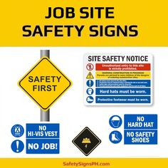 Opt for our job site safety signs to alert workers to dangerous areas where they need to protect themselves w. Construction Safety, Armed Conflict, Safety First, Hard Hats, Philippines, Layout, Signs, Helmets, Page Layout