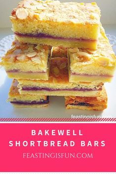 Bakewell Shortbread Bars - Feasting Is Fun Tray Bake Recipes, Tart Recipes, Cookie Recipes, Yummy Recipes, Bakewell Traybake, Bakewell Tart, Shortbread Bars, Shortbread Recipes, Chewy Brownies