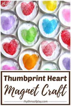Thumbprint Heart Magnet Craft! Invite children to use their thumbprints to make this fun craft! Thumbprint art glass magnets are an easy craft for kids and a simple homemade gift idea kids can make for Mother