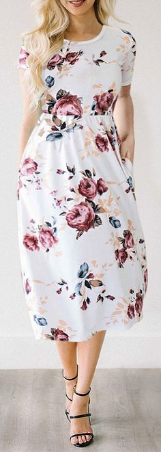 White Gorgeous Floral Print Dress. Summer Dresses and Beach fashion. Modest Spring Dresses and Cute Summer Dresses for Women. Summer casual dresses. Sundresses, Simple Dresses and Classy Spring Dresses. Floral Dresses. #women #womenfashion #casual #womens #affiliate #dress #dresses #summerdress #summerfashion #summeroutfits #beachfashion