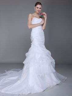 Sweetheart Side Appliqued Mermaid Organza over Satin Wedding Dress 0113943