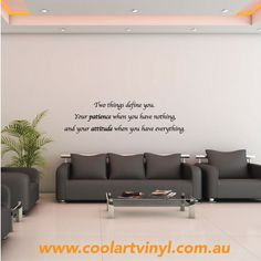 Patience and Attitude Wall Quote- new in January 2014!  Customise in your own font and colour!