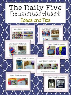 School Is a Happy Place: The Daily Five: Focus on Word Work Ashley Daily 5 Activities, Word Work Activities, Language Activities, Literacy Activities, Daily 5 Centers, Word Work Centers, Reading Centers, Reading Stations, Writing Centers