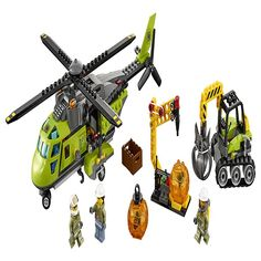 Take science and discovery to new heights with the Volcano Supply Helicopter. Finding more boulders means more crystal elements need to head to the lab. Unload the excavator and boulder opener tool and start breaking open those boulders! Pack the box with the newest crystal element and load it in the back of the helicopter, then spin the rotors and take to the skies one more time, for science.