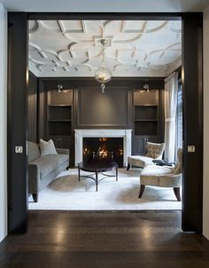 Salon with Custom Plaster Ceiling traditional living room design by chicago architect dSPACE Studio Ltd Ceiling Detail, Ceiling Design, Ceiling Ideas, Ceiling Trim, Ceiling Decor, Molding Ceiling, Office Ceiling, Ceiling Chandelier, Chandeliers