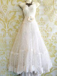 white lace mesh tulle ruffled boho wedding by mermaidmisskristin $537 CAD on Etsy