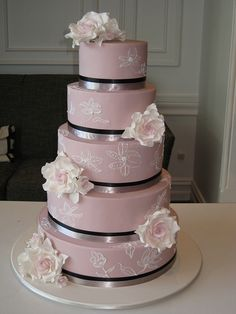 Pale Pink Wedding Cake via Designer Cakes by Effie