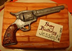 Revolver Gun Cake- A cake I just finished. The revolver is completely edible too. Funny Birthday Cakes, Happy Birthday Me, Boy Birthday, Party Treats, Holiday Treats, Party Cakes, Hillbilly Party, Fishing Cakes, Gun Cakes