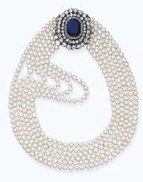 Diamond, Sapphire and Natural Pearl Choker, c. 1890