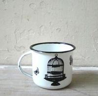 Enamel mug 8cm birdcage