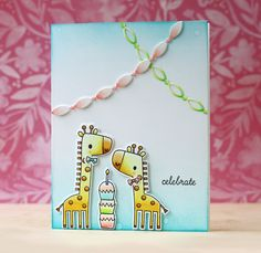 Card by Laura Bassen. Reverse Confetti stamp set: Lift Me Up. Confetti Cuts: Lift Me Up and Linked Garland. Birthday card. Congratulations card. Baby card.
