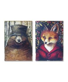This Old Bear & Fox Lodge Wall Art Set is perfect! #zulilyfinds