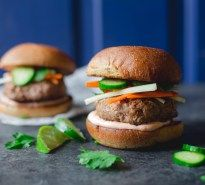 Banh Mi Burgers with Sriracha Lime Mayo   With quick pickles and seasoned pork, these banh mi burgers with sriracha lime mayo are as good as authentic banh mi, but come together in an hour! Asian street food meets backyard cookout!