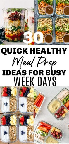 healt plan 30 Easy healthy meal prep recipes for the week when youre trying to lose weight. Includes healthy recipes for breakfast, lunch, and dinner; meal prep for the week makes it easier to stick to a clean eating health plan. Breakfast Low Carb, Clean Eating Breakfast, Breakfast Ideas, Vegan Breakfast, Low Carb Meal, Keto Meal, Quick Easy Healthy Meals, Healthy Recipes For Weight Loss, Healthy Food Ideas To Lose Weight
