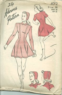 Early 1940s Advance Pattern 4012  of Ice Skating Ensemble  Dress with Bloomers and Cap