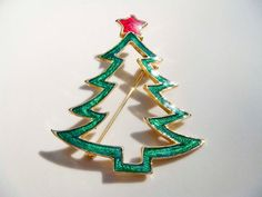 Vintage AAi Christmas Tree Pin gold red and by PaganCellarJewelry, $8.99