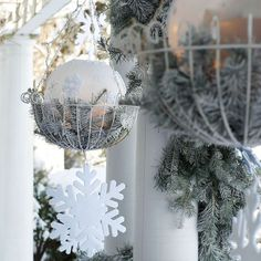 Keep your hanging baskets out all year with this frosty look! http://www.bhg.com/christmas/outdoor-decorations/outdoor-holiday-decorating-ideas/#