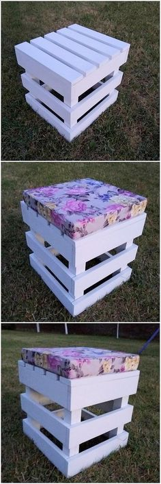 Besides adding couch sets and benches into your house rooms placing the stool designs is another one of the complimentary style to add in your house corners. Check out this masterpiece of the artistic designed stool creation out of the wood pallet. Wooden Pallet Projects, Wooden Pallet Furniture, Pallet Crafts, Wooden Pallets, Wooden Diy, Pallet Wood, Metal Furniture, Lawn Furniture, Green Furniture