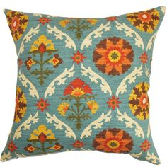 Cotton pillow with a multicolor suzani motif. Made in the USA.   Product: PillowConstruction Material: Cotton cover ...