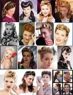 vintage wedding hair collage