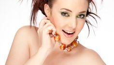 Chunky Orange Agate Round & Swarovski Crystals Finished with Sterling  Jewellery Designer: Dragonfly Fine Designs      Photographer: Shane Baker - www.balmainstreetstudio.com.au
