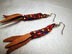 Corn is a very special plant to the Oneida Nation and goes all the way back to our Creation Story when Sky Woman first fell from the Sky Wo. Beaded Earrings Native, Native Beadwork, Seed Bead Earrings, Earrings Handmade, Indian Earrings, Seed Bead Patterns, Beaded Jewelry Patterns, Beading Patterns, Rock Jewelry