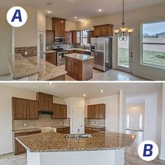 Which beautiful kitchen do you prefer? Kitchen A offers granite countertops with a backsplash that gives it a pop of color. Kitchen B offers a larger island countertop which is perfect for accommodating family gatherings. With customization at every corner, WestWind Homes will help you find a kitchen layout that is truly built for your life. #westwindhomes #vibrantcommunities #builtforyourlife #kitchen  http://www.westwindhomes.com/