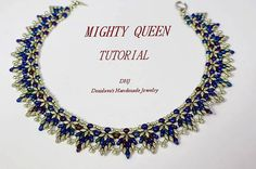 Instructions for necklace Mighty Queen 17 inches with super duo silver and blue beads PDF tutorial with photos and diagrams