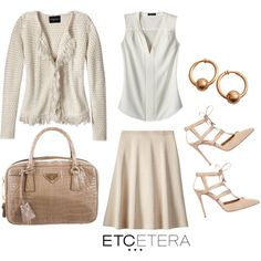 Etcetera: ESSENCE jacket with PARCHMENT ivory blouse and DUNES sand skirt. www.etcetera.com