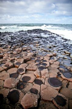 The famous Giants Causeway in Northern Ireland features millions of stacked and adjacent hexagonal stones.