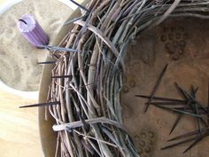 Love the purple candle in the sand and this crown of thorns is my favorite!!