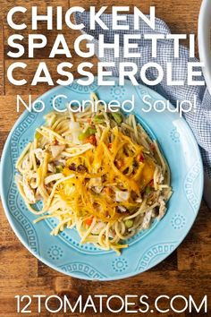 A classic vintage casserole – without the canned soup! Quick Weeknight Dinners, Quick Easy Meals, Easy Dinner Recipes, Delicious Recipes, 12 Tomatoes Recipes, Chicken Spaghetti Casserole, Creamed Mushrooms, Vintage Recipes, How To Cook Chicken