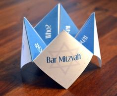 Adorable Cootie Catcher Bar Bat Mitzvah invitation from Designs By Tensiha on Etsy. What 13 year old wouldn't love this!!!