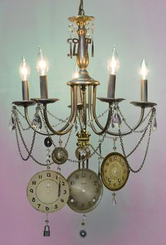 64 best lighting 2 images on pinterest candle holders steampunk chandelier make five large jump rings using the 20 ga wire and the aloadofball Images