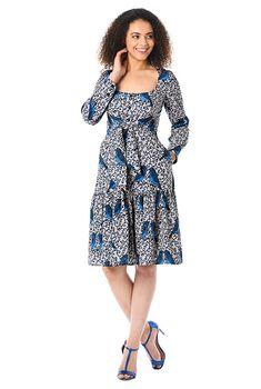 1a85c878d0f95e I  lt 3 this Tie front filigree bird print crepe dress from eShakti Plus  Clothing