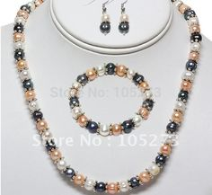 Nice! Pearl Jewelry Set AA 8-9MM Genuine Freshwater Pearl Necklace Bracelet Earring Fashion Girl's Women's Jewelry Free Shipping