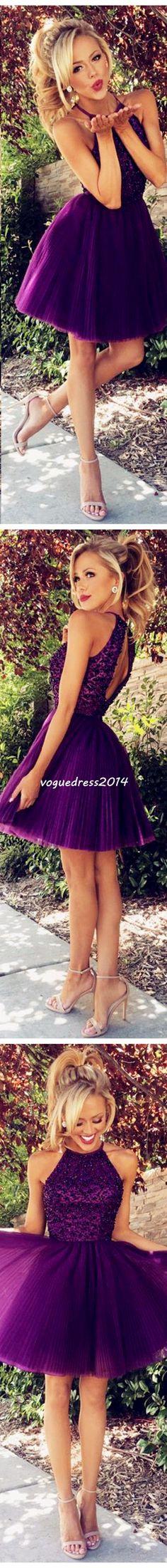 Purple High Neck open back homecoming dress,short prom dress. #promdress