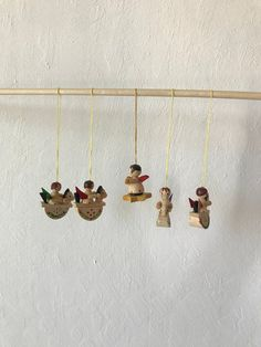 Vintage Wooden Rocking Horse Christmas Ornaments Set of 5