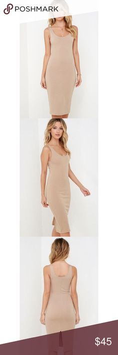 Lulus Wicked Games Dress Size US small. Midi beige body con dress. So gorgeous on!!! NWOT! You'll get so many compliments & stares ;) Lulu's Dresses Midi