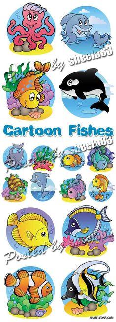 Веселые мультяшные рыбки в векторе | Cartoon vector fishes
