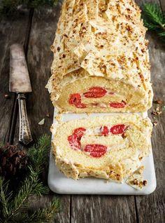 Recette de Ricardo de bûche érable, framboises et chocolat blanc