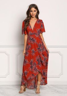 Junior Clothing | Rust Floral Crepe Hi-Lo Maxi Dress | Loveculture.com