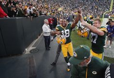 Green Bay Packers wide receiver Randall Cobb (18) and wide receiver Jordy Nelson celebrate. - Image credit: Mark Hoffman