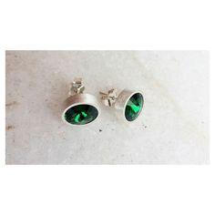 Toque de cor. Cristal #Swarovski Emerald [Compras via direct] #emerald #copella #verde #prata #prata925