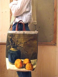 Obsessing over these gorgeous bags made from vintage canvas paintings // swarm / leslie oschmann /Pussy Willow Bag (free shipping)