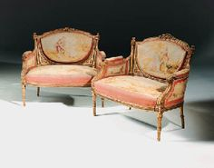 aubusson furniture | pair of French giltwood and Aubusson canapes
