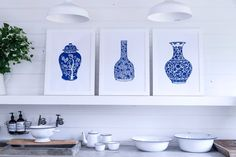 Limited edition lino prints of blue and white china urns created by Tracey Fletcher king and sold exclusively by The Arthouse Collective Lino Design, Vine Leaves, Blue And White China, Urn, One Color, Three Dimensional, Home Art, Hand Carved, Lino Prints