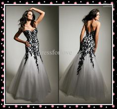 Wholesale 2013 White and Black Prom Dress Sweetheart Mermaid Applique Full Length Tulle Evening Dresses Gowns, Free shipping, $123.2-134.4/Piece | DHgate